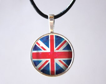 British Flag Necklace UK flag United Kingdom England Union Jack Flag Pendant Jewelry Cabochon Cameo