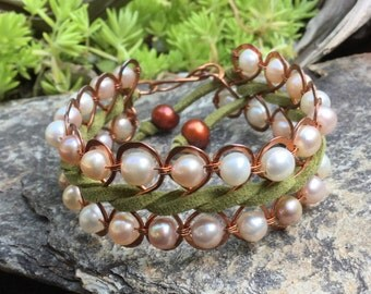 Woven Copper Wire with Pearls Figure 8 Bracelet