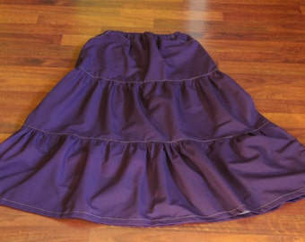 READY TO SHIP! Purple Tiered Skirt: Women's Modest Custom Long Tiered Twill Skirt size 4