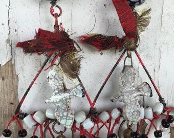 Turtle Doves on a Wire OOAK dangle earrings by SusanARay of OneHealingStone