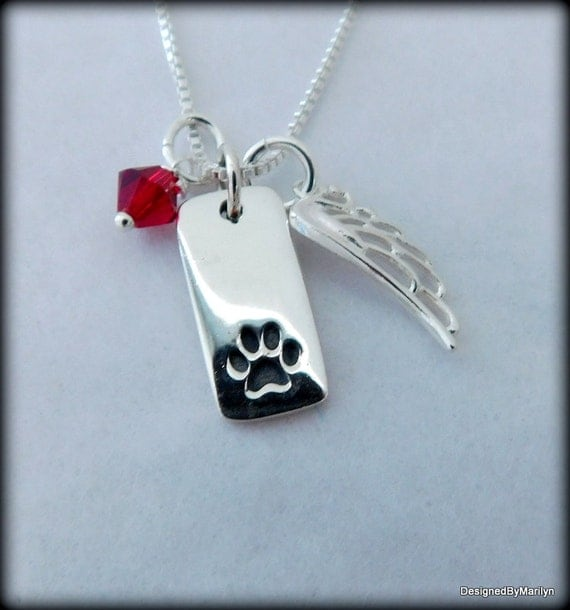 Sterling silver paw print necklace, animal lovers necklace, personalized jewelry, pet memorial
