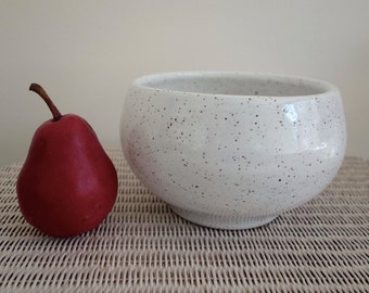 Speckled White Bowl or Pot - Handmade Pottery - Large Size