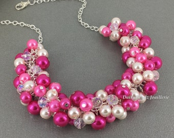 Fuchsia Necklace, Pearl Necklace, Bridesmaids Gift, Bridesmaid Necklace, Hot Pink Necklace, Wedding Necklace, Pearl Jewelry, Summer Wedding