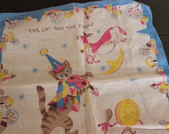 Vintage Golden Book Cat and the Fiddle Hankie Hanky Provensens