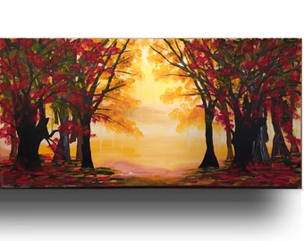 Modern wall painting - Canvas painting, Tree Painting, wall decor, wall Art on Canvas, Red Yellow Black Art on canvas, tree art  by Sami