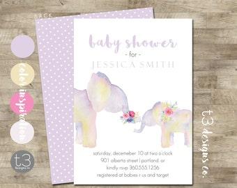 Elephant Baby Shower Invite, Girl Elephant Baby Shower Invitation, Elephant, watercolor elephant baby shower, Girl Baby Shower Invite, T13
