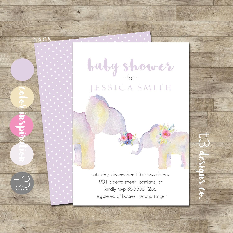 Elephant Baby Shower Invite Girl Elephant Baby Shower Invitation