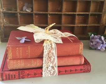 Books vintage very old rustic shades of red x 3 display bundle