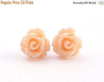 15%OFF SALE Tiny Peach Rose Earrings, Wedding Jewelry, Bridesmaid Gift, Under 5 Dollars