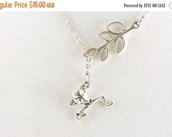 SALE 20% OFF Tiny Frog Necklace, Lariat Necklace, Woodland Jewelry, Nature Inspired Jewellry