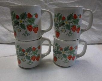 Vintage Strawberry Coffee Mugs Set of Four, 1216T