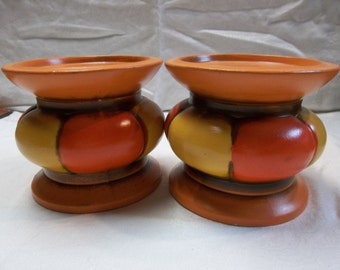 50% OFF!!! Vintage Mid Century Modern Orange and Yellow Pillar Candle Holders set of Two, T