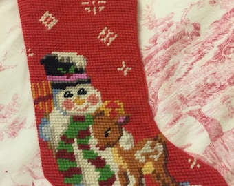 Country Christmas Needlepoint Snowman with Reindeer Stocking