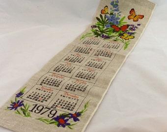 Vintage Linen 1979 Calendar, 1979 Calendar Towel, born 1979, retro calendar