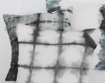 Shibori Pillow Cover, Gray Linen Pillow Cover, Pillow Cover, Pillow Covers 20X20, Hand Dyed Linen Pillow, Wholesale and retail