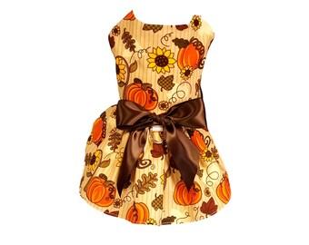 Dog Dress, Dog Clothing, Dog Wedding Dress, Pet Clothing, Dog Attire, Pet Dress, Sunflowers and Pumpkins
