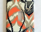 Gazelles Fabric Single Light Switch Cover / Switch Plate / Antlers / Deer / African Animals / Safari / Lighting / Housewarming Gift / Home