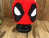 Deadpool Inspired Crochet Handmade Hat Beanie Dead Pool