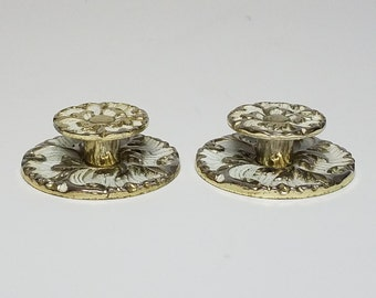 Vintage Knobs With Back Plate, 2 Sets Brass & Vanilla  French Provincial