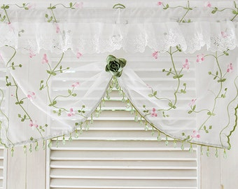 green beads valances laces embroidered flower corsage ruffle urtains window kitchen home decor
