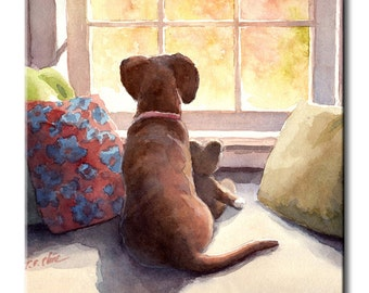 Redbone Coonhound Puppy Looking at the Window Art Tile Print on Ceramic with Hook or with Feet Indoor Use