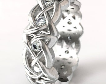 Sterling Silver and Moissanite Ring, Celtic Knot Ring, Moissanite Wedding Band, Unique Wedding Ring, Silver Celtic Wedding Band, CR-1064