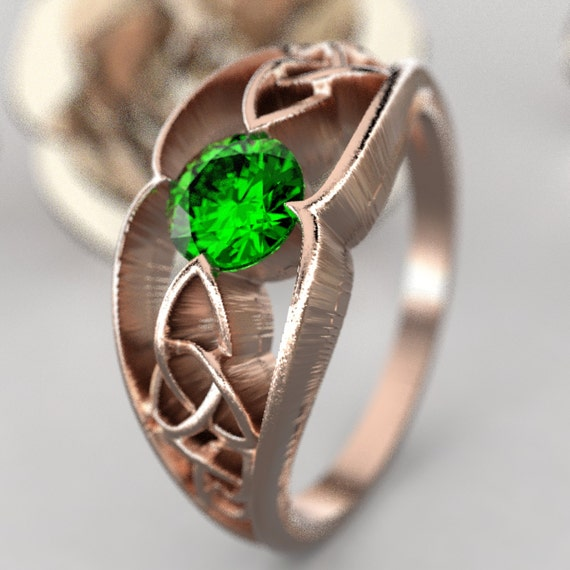 Gold Celtic Wedding Ring With Trinity Knot Design With Emerald Stone in 10K 14K 18K or Palladium, Made in Your Size Cr-1048