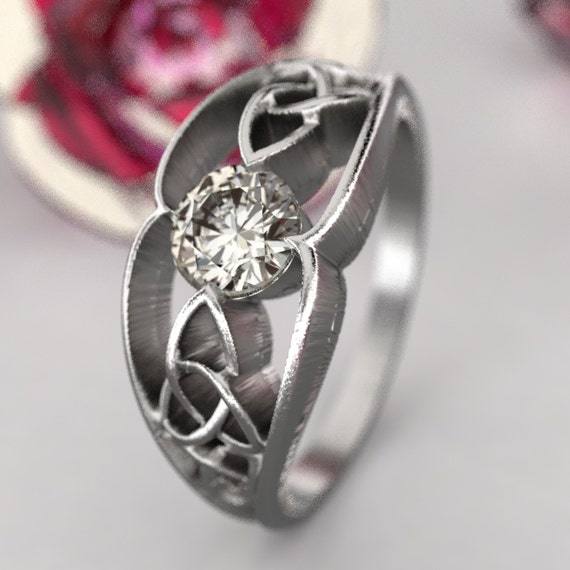 Gold Celtic Wedding Ring With Trinity Knot Design With Moissanite Stone in 10K 14K 18K or Palladium, Made in Your Size Cr-1048