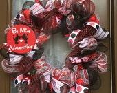 "Disney inspired ""Be Mine Valentine""  Minnie/Mickey Valentines deco mesh wreath"