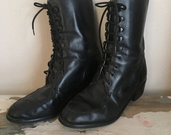Vintage 1990s Black Leather Combat Boots Military Tall Ankle Lace Up Western Grunge Goth Punk Booties 7