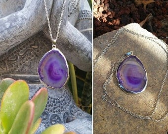 Purple~Silver//Agate Stone Necklace