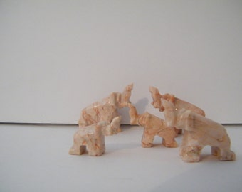 SALE Carved Marble Elephants, 5 Vintage hand carved herd of pachyderm,  collectibles
