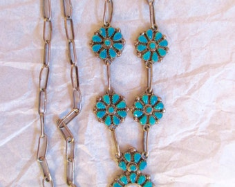 CHILDS SQUASHBLOSSOM NECKLACE Sterling Turquoise