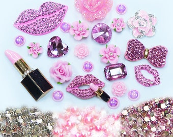 New -- DIY 3D Pink Lips Alloy Bling Bling Glass Gems Flatback Decoden Cabochons Cell Phone Case Deco Kit