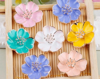 2 Pieces Flower Alloy Bling Bling Cell Phone Case Deco accessory Piece