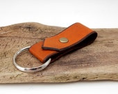 Rustic Brown Leather Key Ring w/ brass rivet, leather key fob, leather keychain, vegetable tanned leather key fob, man gift, groomsman gift