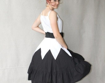 SEXY 50% OFF SALE Chevron Geometric Pattern Black & White Garden Party 50's Style Sundress High Waist Dress