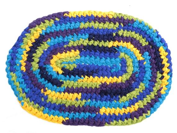Crocheted Rag Rug Peacock Rug T Shirt Rug Hand Crocheted