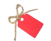 50 Small Red or L/Green or D/Green or Black or Orange Gift Tags / Wedding Tags - Natural Jute Twine (12 Metres Uncut) - 42mm x 28mm UK Made
