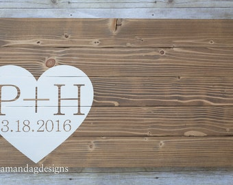 Wood Wedding Guest Book Alternative with Wrap-Around Heart (Initials)