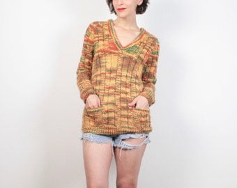 Vintage 1970s Sweater Mustard Gold Orange Green Space Dye Knit Hippie Sweater V Neck Pockets Homemade Knit Jumper 70s Cable Knit S M Medium