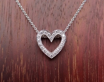 Open Heart Shape Diamond Pendant Pave Natural White Diamonds 18k White Gold Necklace with 14K Chain Included
