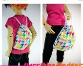 Sale 25% Off BJD MSD 1/4 Doll Accessories - Rainbow Houndstooth Drawstring Backpack