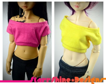 BJD MSD 1/4 Doll Clothing - Design Your Own Wideneck Crop Top - 20 Colors
