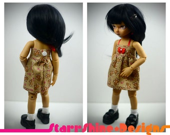 BJD YoSD 1/6 Doll clothing - Christmas Dress in Gingerbread on Brown