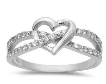 Personalized Sterling Silver Infinity Twist With Heart Ring