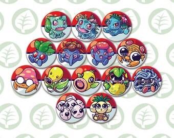 First Generation Grass pokémon buttons