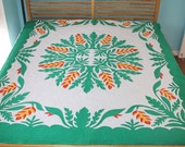 """Traditional Handmade One of a Kind Queen Size Hawaiian Quilt 75"""" x 90"""""""