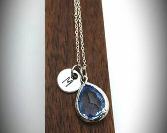 Mother's day gift,September birthstone necklace with initial,Sapphire birthstone,Initial necklace,Birthday gift,Sapphire,Gift for her