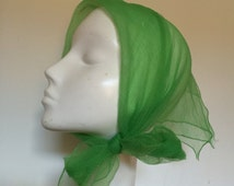 1950s chiffon scarf square sheer pea grass green nylon hem trim 50s rockabilly headscarf turban neckerchief